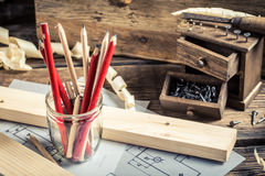 Old tools in carpentry workshop Stock Image