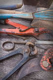 Old tools closeup - vintage tool collection Stock Photos