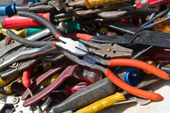 Old tools. Collection of old hand tools for sale at a flea market Stock Photography