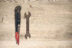 Old tools with copy space. Rusty old hand tools with copy space stock photography