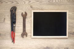 Old tools with copy space. Rusty old hand tools with copy space stock photo