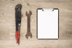 Old tools with copy space. Rusty old hand tools with copy space royalty free stock images