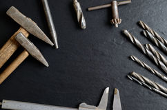 Old tools creating a frame Stock Photos