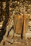 Old tools. For firewood preparing Royalty Free Stock Images