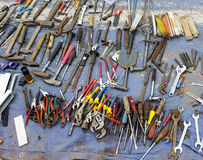 Old tools at flea market stock photo