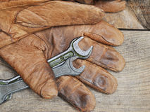 Old tools and gloves Stock Photos