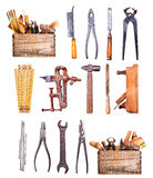 Old tools isolated on white background Stock Image