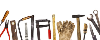 Old tools isolated on white. Old craftsman tools isolated on white background stock image