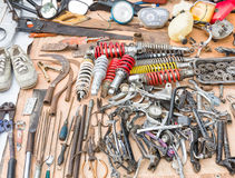 Old tools and old replacement parts Royalty Free Stock Photography