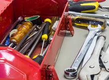 Old tools and red tool box Stock Images