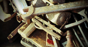 Old tools rust for sale in the antique shop Royalty Free Stock Photo