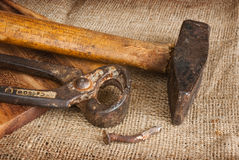 Old tools on a sack panel Stock Photography
