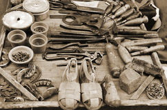 Old tools shoemaker Stock Image