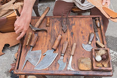 Old tools of the shoemaker stock photo