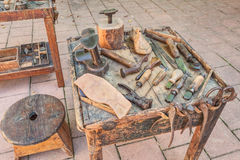 Old tools of the shoemaker Royalty Free Stock Images
