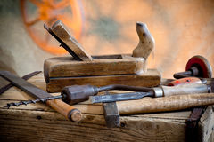 Old Tools. Still life with old hammer and carpentry tools stock image