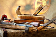 Old Tools. Still life with old used carpentry tools royalty free stock image