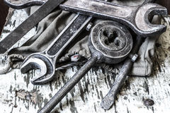 Old tools on a table Stock Photo