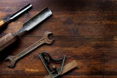 Old tools on table top Royalty Free Stock Image