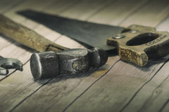 Old tools - tight focus on hammer head Royalty Free Stock Photos