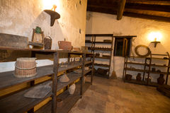 Old tools to make bread. Ancient room of a mill with old tools to make bread stock photography