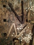 Tools for wooden art work. Old tools for traditional wooden art work stock photos