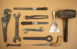 Old tools. View of old set tools royalty free stock photos