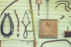 Old tools on a wall Royalty Free Stock Photography