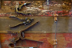 Old Tools on Walls. Old Tools on wooden walls stock image