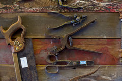 Old Tools on Walls. Old Tools on wooden walls stock images