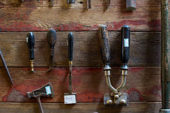 Old Tools on Walls royalty free stock images