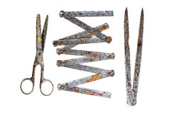Old tools on a white background Stock Images