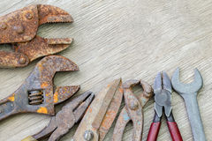 Old tools on wood Royalty Free Stock Photography