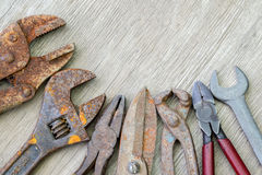 Old tools on wood Stock Image