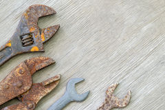 Old tools on wood Royalty Free Stock Image