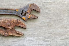 Old tools on wood Royalty Free Stock Photos