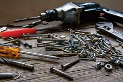 Old tools. On wood table royalty free stock photos
