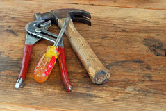 Old tools on wooden workbench Stock Photography