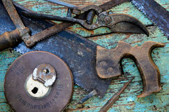 Old Tools on Work Bench Stock Photography