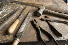 Old tools and workbench Royalty Free Stock Images