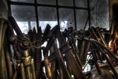 Old tools in an workshop on the countryside stock photo