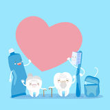 Old tooth couple with heart Stock Image