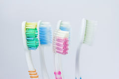 An old toothbrush. Through the use of an old toothbrush ago Stock Image