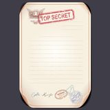 Old Top Secret Document on Table. Vector Template Royalty Free Stock Photo