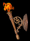 Old Torch On Black Stock Photography