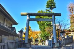 Old Torii gate in Tokyo, Japan stock photography