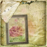 Old torn crumpled paper  with hand drawn rose Royalty Free Stock Image