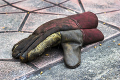 Old torn glove on ground Royalty Free Stock Images