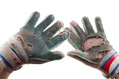 Old Torn Gloves and Hands of the Soccer Goalkeeper Stock Images