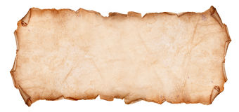 Old Torn Paper Scroll Isolated on a White Background Stock Photography